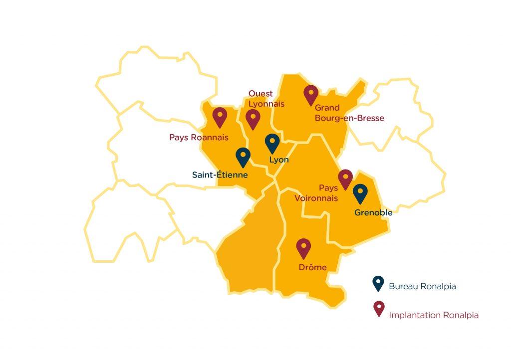 Carte des implantations bureaux et antennes de Ronalpia